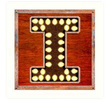 Vintage Lighted Sign - Monogram Letter I Art Print