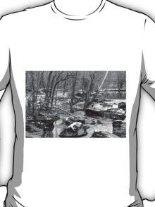 B&W Unami Creek in Winter Grays T-Shirt