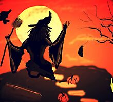 Witch is about to jump on her broom by Anna  Lewis