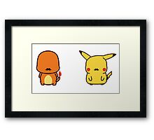 pokemon with mustaches...too cute Framed Print