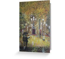 Barcelona on a rainy night Greeting Card