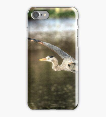 Great Blue Heron flying overwater iPhone Case/Skin