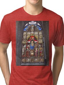 Stained Glass window, St Nicholas's Church, Ghent, Belgium Tri-blend T-Shirt