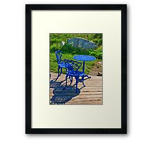 Blue Chairs and Table Framed Print