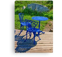 Blue Chairs and Table Canvas Print