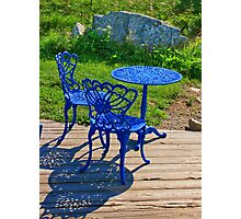 Blue Chairs and Table Photographic Print