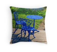 Blue Chairs and Table Throw Pillow