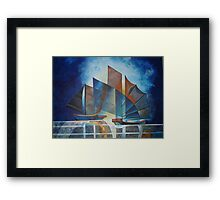 Ships in Pointillism Framed Print