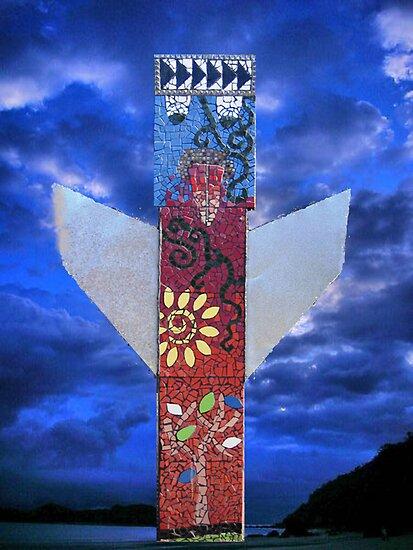 The Angel: Myuna totem pole by Cheryle