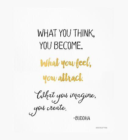 Gautama Buddha quote, gold Photographic Print