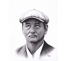 Realism Charcoal Drawing of Bill Murray Photographic Print