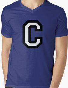 Letter C two-color Mens V-Neck T-Shirt
