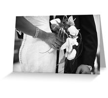 Bride and groom holding black and white wedding photograph Greeting Card