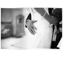 Groom holding bottom of bride black and white wedding photograph Poster
