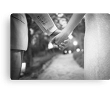 Groom holding hands with bride black and white wedding photograph Metal Print