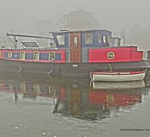 Misty Canal Barge by DES PALMER