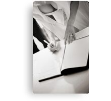 Sexy busty sensual bride signs marriage register black and white wedding photograph mariage ceremony Canvas Print