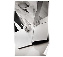 Sexy busty sensual bride signs marriage register black and white wedding photograph mariage ceremony Poster