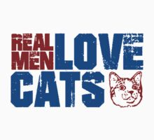 REAL MEN LOVE CATS. Transparent distressed effect. Kids Clothes