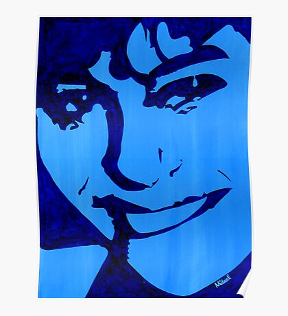 """""""Blue Girl"""" original signed acrylic painting on canvas Poster"""