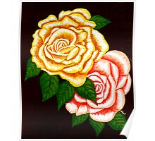"""Two Roses"" original signed acrylic painting on canvas Poster"
