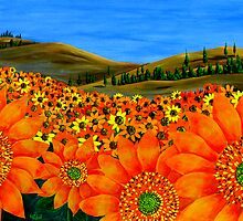 """Sunflower Field"" Original Floral Nature Painting by Michael Arnold"