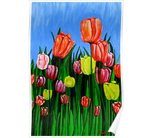 """Tulips"" original  springtime floral painting Poster"