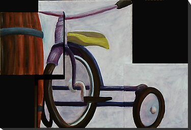 """Trike & Barrel"" original trypytch artwork by Michael Arnold"