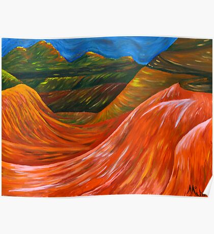 """""""Mountainsl"""" original nature painting on canvas Poster"""