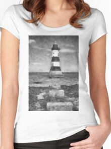 Penmon Lighthouse Women's Fitted Scoop T-Shirt