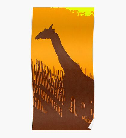 "'Giraffe"" original signed acrylic painting on canvas Poster"