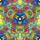 Psychedelic jungle kaleidoscope ornament 35 by Andrei Verner