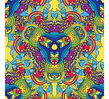 Psychedelic jungle kaleidoscope ornament 35 Photographic Print