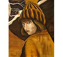 """Girl in Brown and Gold"" original signed acrylic painting on canvas Photographic Print"
