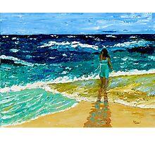"""Girl  on Beach"" original nature seascape painting Photographic Print"