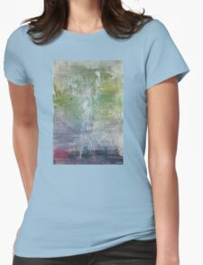 Real Art Painting Of Abstract Flowers, Splashes Womens Fitted T-Shirt
