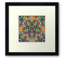 Psychedelic jungle kaleidoscope ornament 36 Framed Print