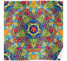 Psychedelic jungle kaleidoscope ornament 36 Poster