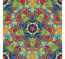 Psychedelic jungle kaleidoscope ornament 36 Photographic Print