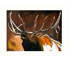 """Chuckles"" - Elk Painting Art Print"