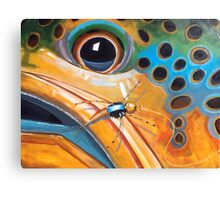 """Brownie with Yellow Sally"" - Trout Painting Canvas Print"