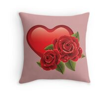 Heart with roses! Throw Pillow