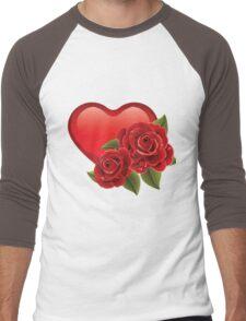 Heart with roses! Men's Baseball ¾ T-Shirt