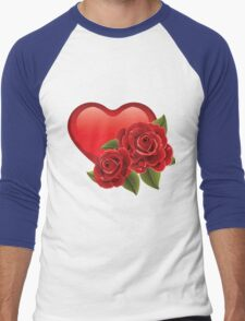 Heart with roses! Men's Baseball ¾ T-Shirt
