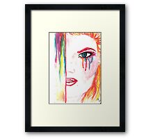 Watercolor drawing wit ginger girl Framed Print