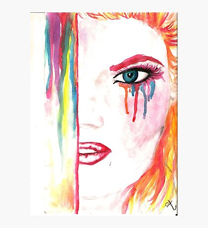 Watercolor drawing wit ginger girl Photographic Print