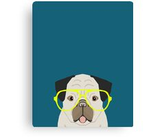 Emerson - Pug with neon Hipster Glasses, Cute Retro Dog, Dog, Husky with Glasses, Funny Dog Canvas Print