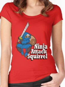 Ninja Attack Squirrel Women's Fitted Scoop T-Shirt