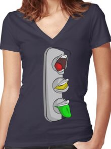 Traffic Lips Women's Fitted V-Neck T-Shirt