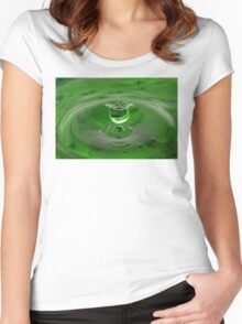 Green Water Drop Women's Fitted Scoop T-Shirt